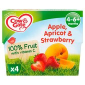 Cow & Gate 4 Mths+ Apple Apricot & Strawberry 100% Fruit Pots