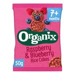 Organix Raspberry & Blueberry Organic Baby Finger Food Snack Rice Cakes