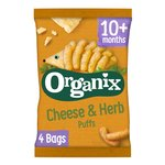 Organix Cheese & Herb Finger Food Toddler Snack Corn Puffs Multipack