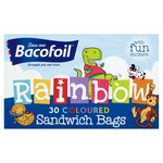 Baco Rainbow Sandwich Bags 30 Coloured Bags & Stickers