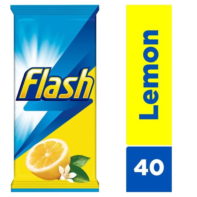 Flash All Purpose Wipes For Fast And Powerful Cleaning Lemon 20 Large Wipes