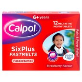 Calpol 6+ Years Sugar Free Strawberry Fastmelts Paracetemol
