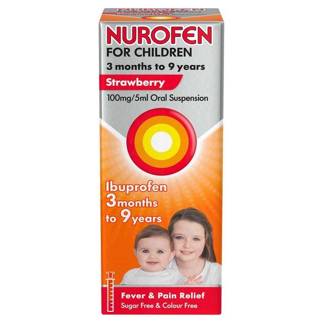 Nurofen For Children 3+ Months Strawberry Liquid Ibuprofen 100mg/5ml 100ml