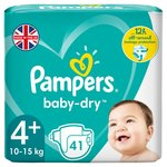 Pampers Baby-Dry Size 4+, 41 Nappies, 10-15kg, Breathable Dryness