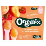 Organix 4 Mths+ Variety Pack Apple & Strawberry / Apple & Peach Compotes