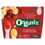 Organix 4 Mths+ Apple & Banana / Apple & Cherry Compotes