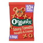 Organix Tomato Noughts & Crosses Toddler Snack Corn Puffs Multipack