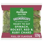 Morrisons Spinach, Wild Rocket, Red & Ruby Chard