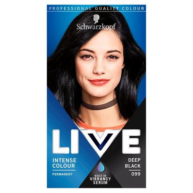 Morrisons Schwarzkopf LIVE Intense Colour 099 Deep Black Hair Dye Product I
