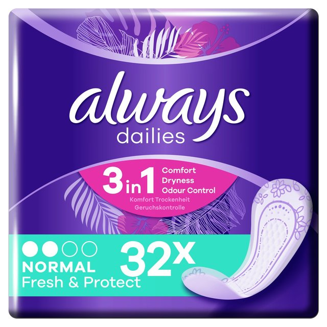 Always Dailies Fresh and Protect Panty Liners Normal 32 liners