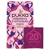 Pukka Elderberry & Echinacea, Organic Herbal Fruit Tea, 20 Sachets