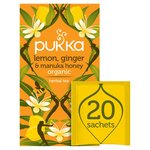 Pukka Lemon Ginger & Manuka Honey, Organic Herbal Tea Bags, 20 Sachets
