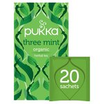 Pukka Three Mint, Organic Herbal Tea with Peppermint, Spearmint, 20 Sachets