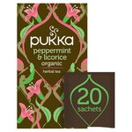 Pukka Peppermint & Licorice, Organic Herbal Tea, 20 Sachets