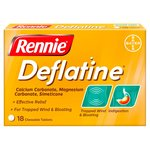 Rennie Deflatine Heartburn, Indigestion & Trapped Wind Relief Tablets