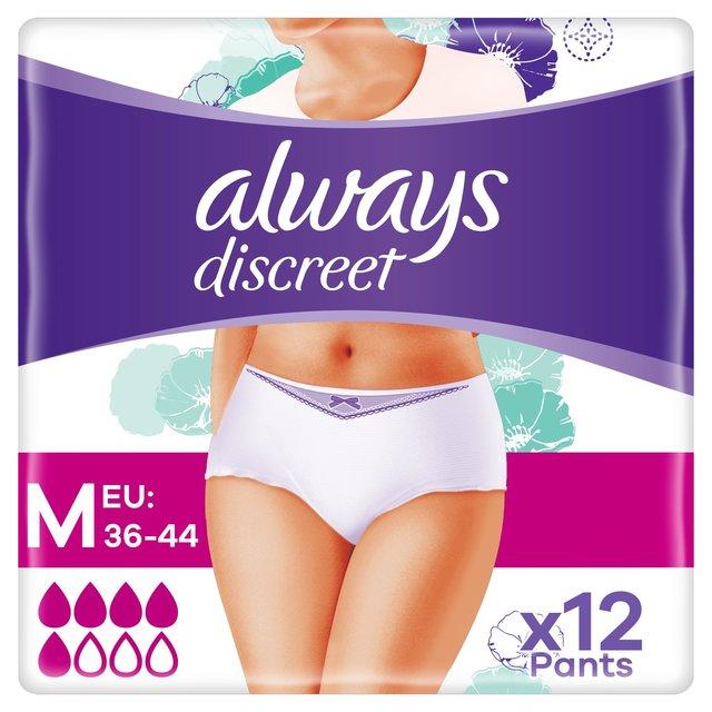 Always Discreet Underwear Incontinence Pants Normal Medium 12 pack