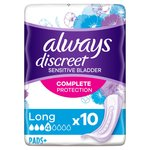 Always Discreet Incontinence Pads+ Long for Sensitive Bladder 10 pack