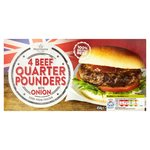 Morrisons 4 Beef Quarter Pounders with Onions