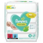 Pampers New Baby Sensitive Baby Wipes Quad  4 x 50 per pack