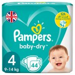 Pampers Baby-Dry Size 4 Nappies, 9-14kg, Breathable Dryness