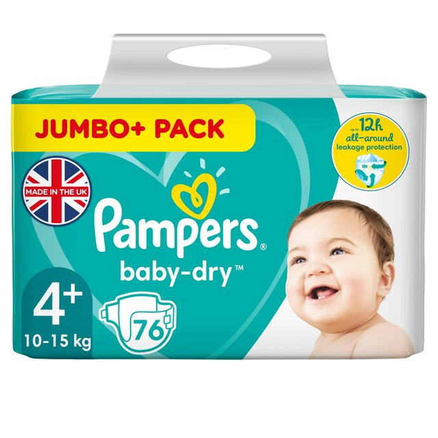 Pampers Baby-Dry Size 4+ Nappies, 10-15kg, Breathable Dryness