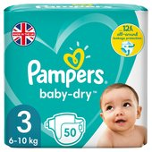 Pampers Baby-Dry Size 3 Nappies, 6-10kg, Breathable Dryness