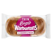 Warburtons Thin Bagels Cinnamon & Raisin