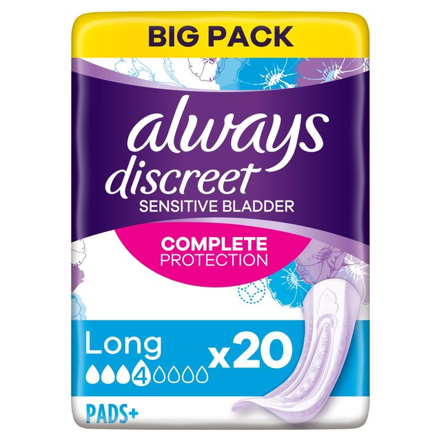 Always Discreet Incontinence Pads+ Long For Sensitive Bladder 20 pack