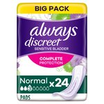 Always Discreet Incontinence Pads Normal For Sensitive Bladder 24 pack