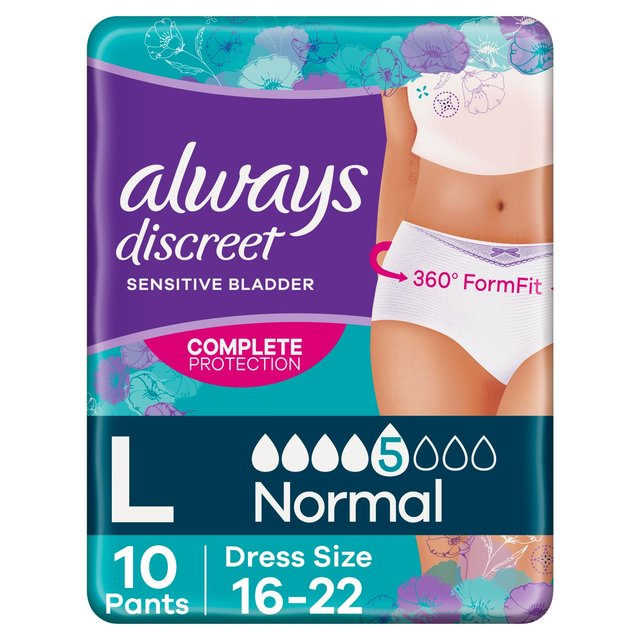 Always Discreet Underwear Incontinence Pants Normal Large 10 pack