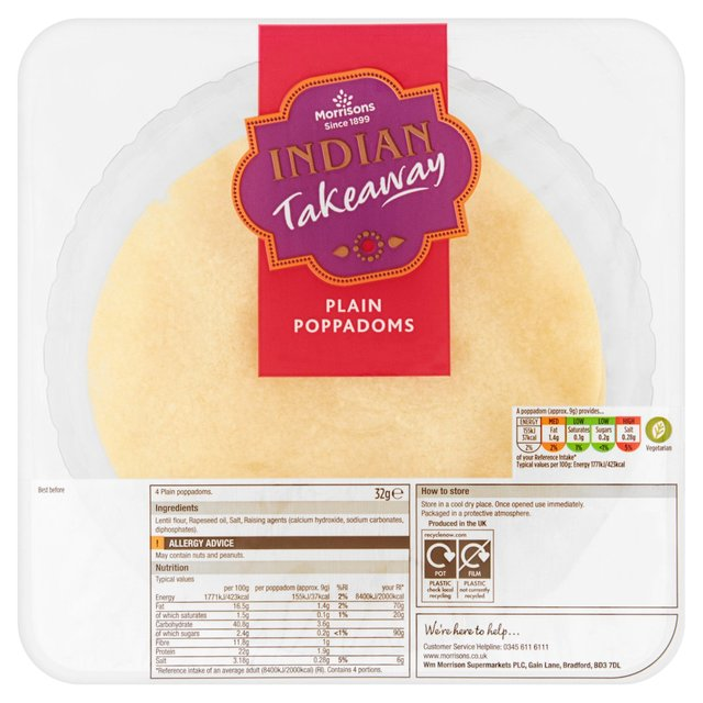 Morrisons Chilled Plain Pappadoms 4 pack