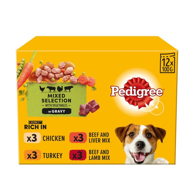 Pedigree Adult 1+ Wet Dog Food Pouches Mixed Selection in Gravy