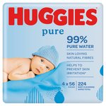 Huggies Pure Baby Wipe Quad 4 x 56 per pack