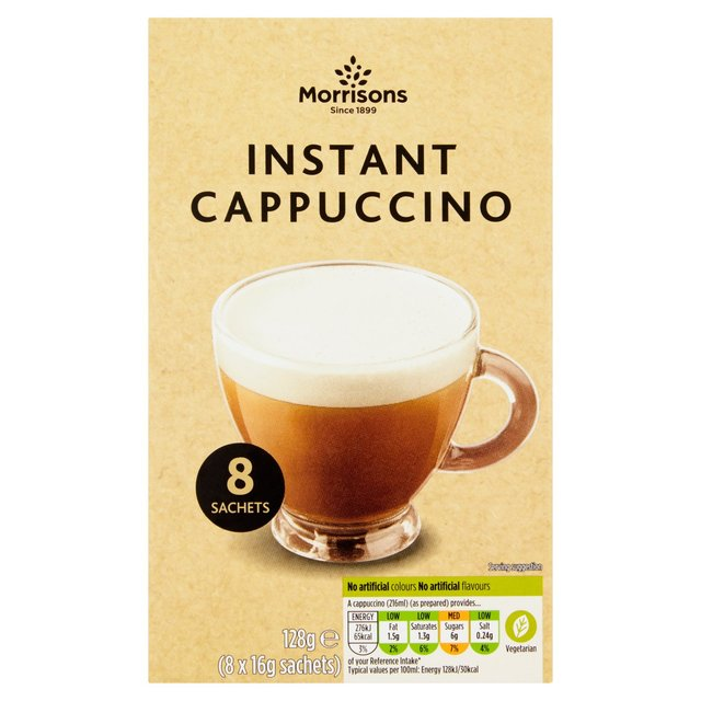 Morrisons Instant Cappuccino Unsweetened Coffee Sachets 8's