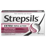 Strepsils Extra Medicated Sore Throat Lozenges Triple Action Cherry