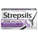 Strepsils Extra Medicated Sore Throat Lozenges Triple Action Blackcurrant