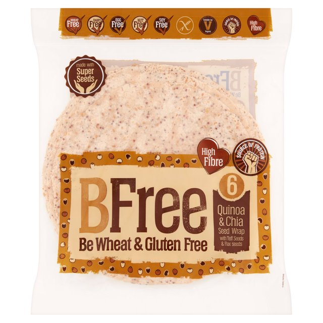 morrisons b free quinoa and chia seed wraps 6 pack 252g product