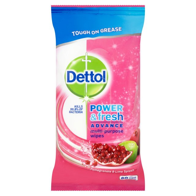Dettol Power & Fresh Multi Purpose Cleaning Wipes Pomegranate & Lime