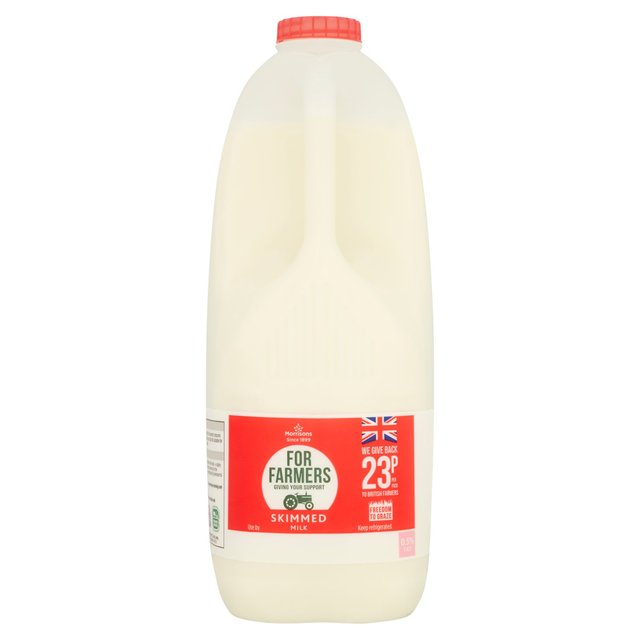 Morrisons For Farmers British Skimmed Milk 4 Pint
