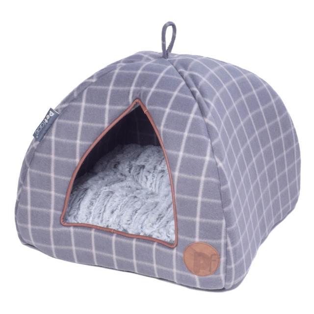 Petface Grey Check Igloo Cat Bed