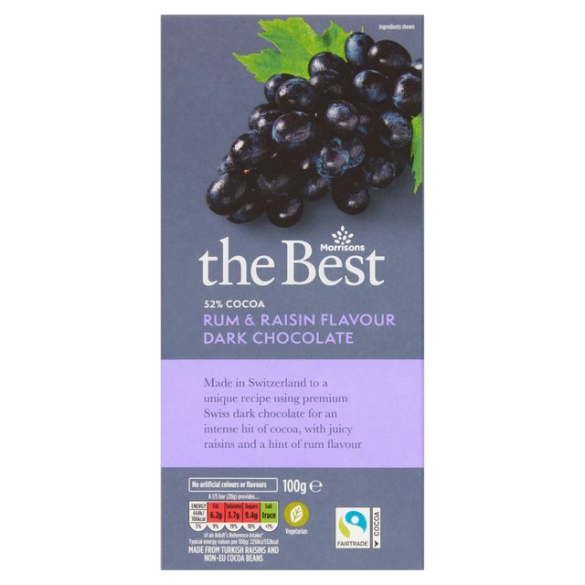 Morrisons The Best 52% Cocoa Dark Chocolate Rum & Raisin
