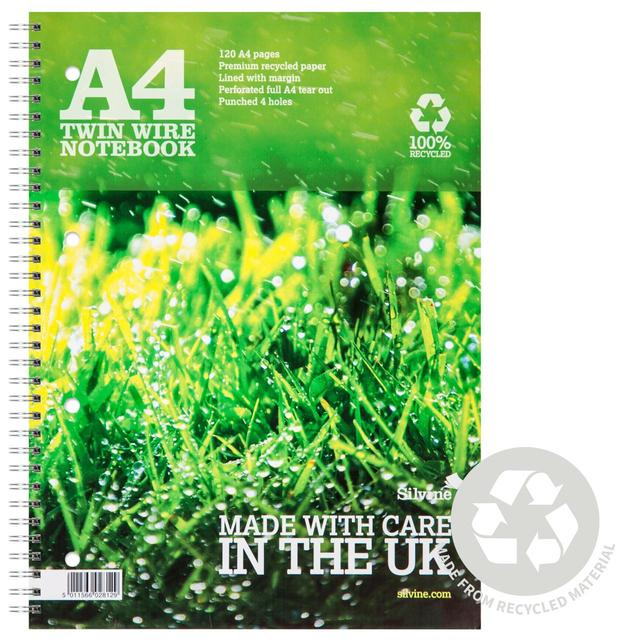 Silvine A4 Twin Wire Recycled Notebook