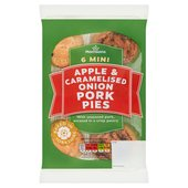 Morrison's 3 x Pork & Apple/3 x Pork & Caramelised Onion Mini Pork Pies 6pk