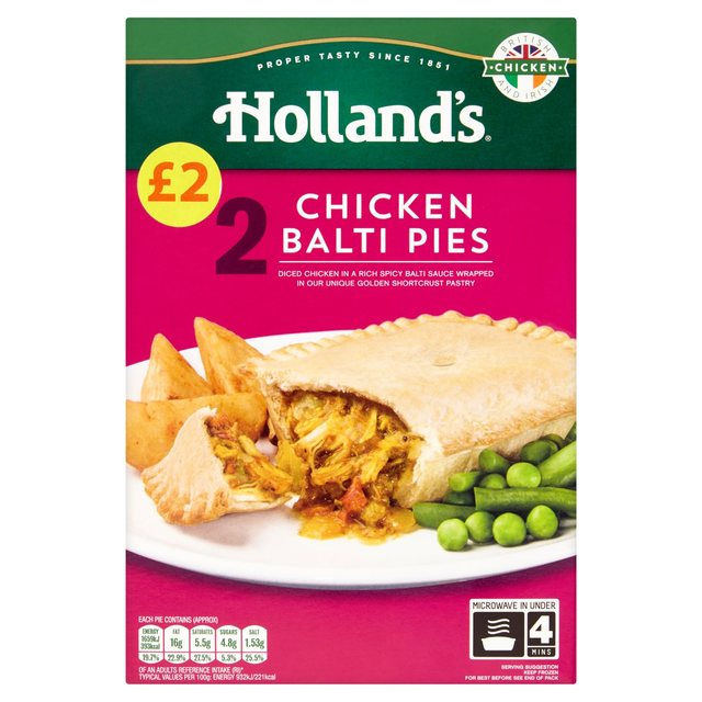 Morrisons hollands chicken balti pie 338g product information