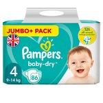Pampers Baby-Dry Size 4 Nappies, 9-14kg, Breathable Dryness 86 per pack
