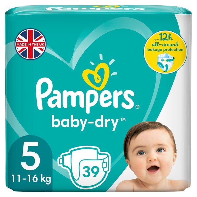 Pampers Baby-Dry Size 5 Nappies, 11-16kg, Breathable Dryness