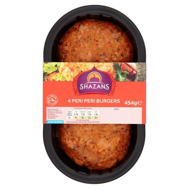Morrisons shazan select hmc peri peri burgers 454g product