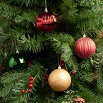 Morrisons Red And Green Textured Baubles