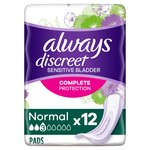 Always Discreet Incontinence Pads Normal for Sensitive Bladder 12 pack