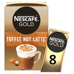 Nescafe Gold Toffee Nut Latte Coffee 8 Sachets x 19.5g